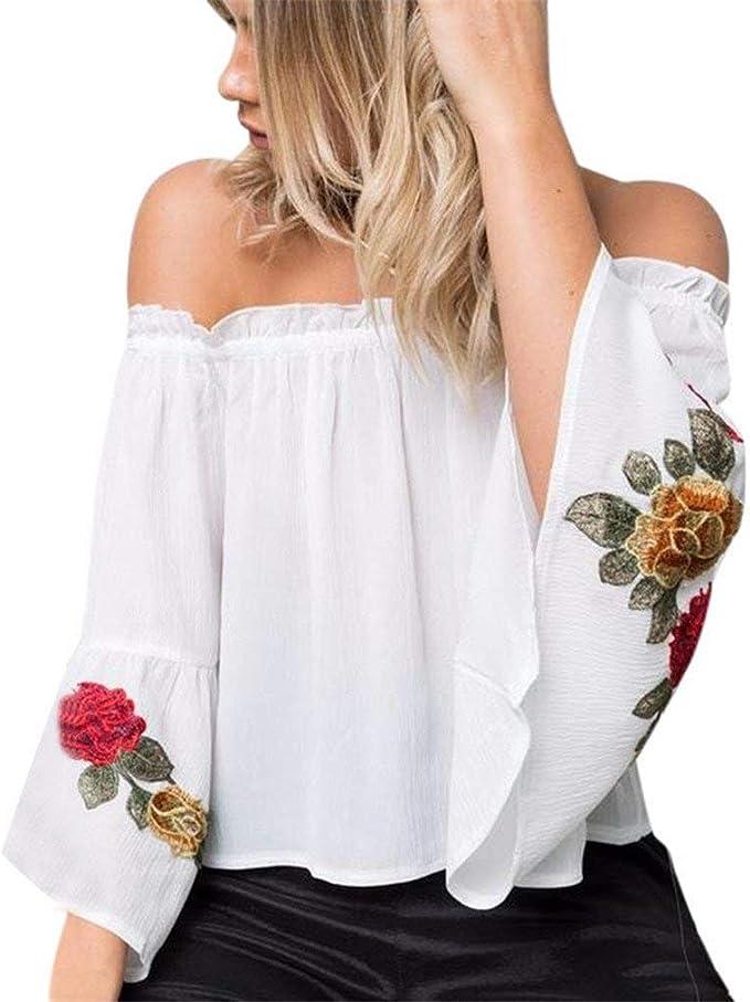 Blusas Superiores Elegantes Moda Mujer Primavera Camisa Bordados Festival de Moda Patrón De Flores Manga Larga Barco Cuello Sin Tirantes Espalda Descubierta Chiffon Party Camisas Moda Joven Hipster: Amazon.es: Ropa y accesorios