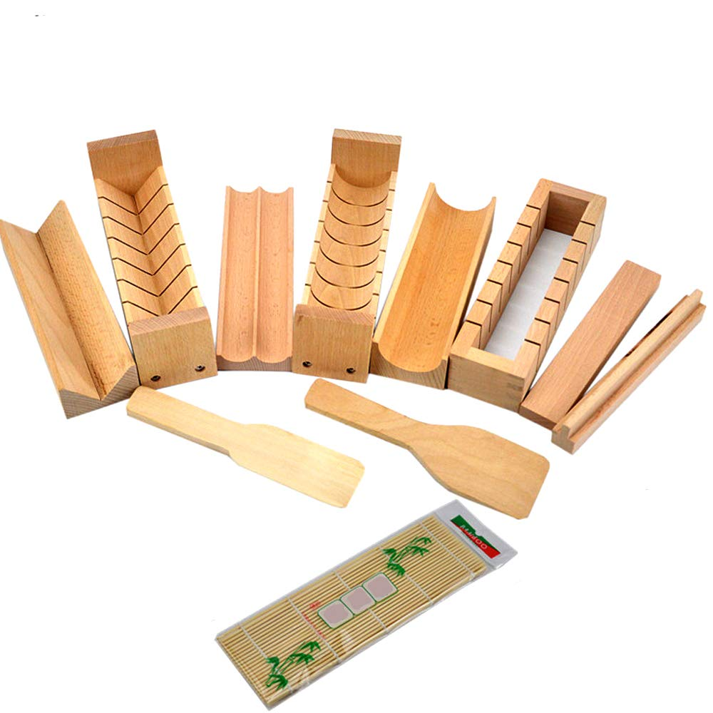 Warrah sushi fare kit set di legno, faggio naturale sushi Maker, riso roller roll muffa cutter, Legno, Whole Set