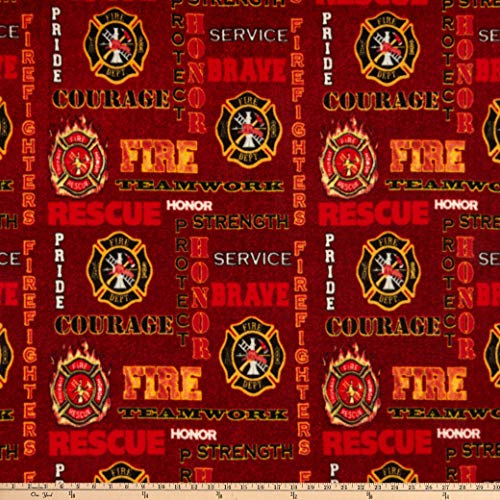 Sykel Enterprises Firefighter Red Heather Fleece Fabric Fabric by the Yard -