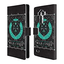 Official Cat Coquillette Turquoise Wolf Linear Leather Book Wallet Case Cover For LG Nexus 5