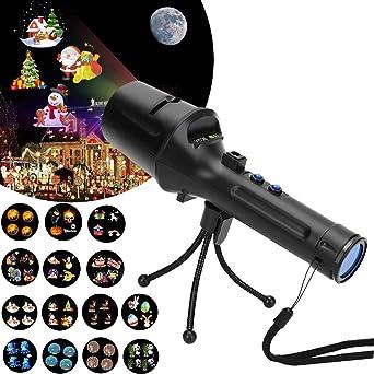 Proyector de Navidad funciona con pilas, 2 en 1, linterna, luces ...