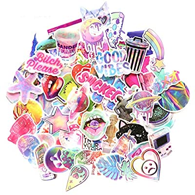 Pink Lollipop Laptop Sticker Pack Cute Girl Rainbow Unicorn Waterproof Vinyls Sticke Decals for Kids Cars Motorcycle Bicycle Skateboard Luggage Bumper Hippie Laser Stickers (76Pcs Laser Sticker): Computers & Accessories