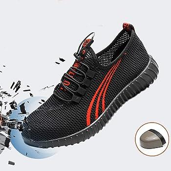 Sneakers の Black Steel Toe Work Shoes