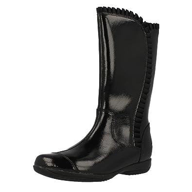 1ba2c2f7ecc Clarks Daisy Melody Infant Girls Long Boots 11.5 UK F Black Patent ...