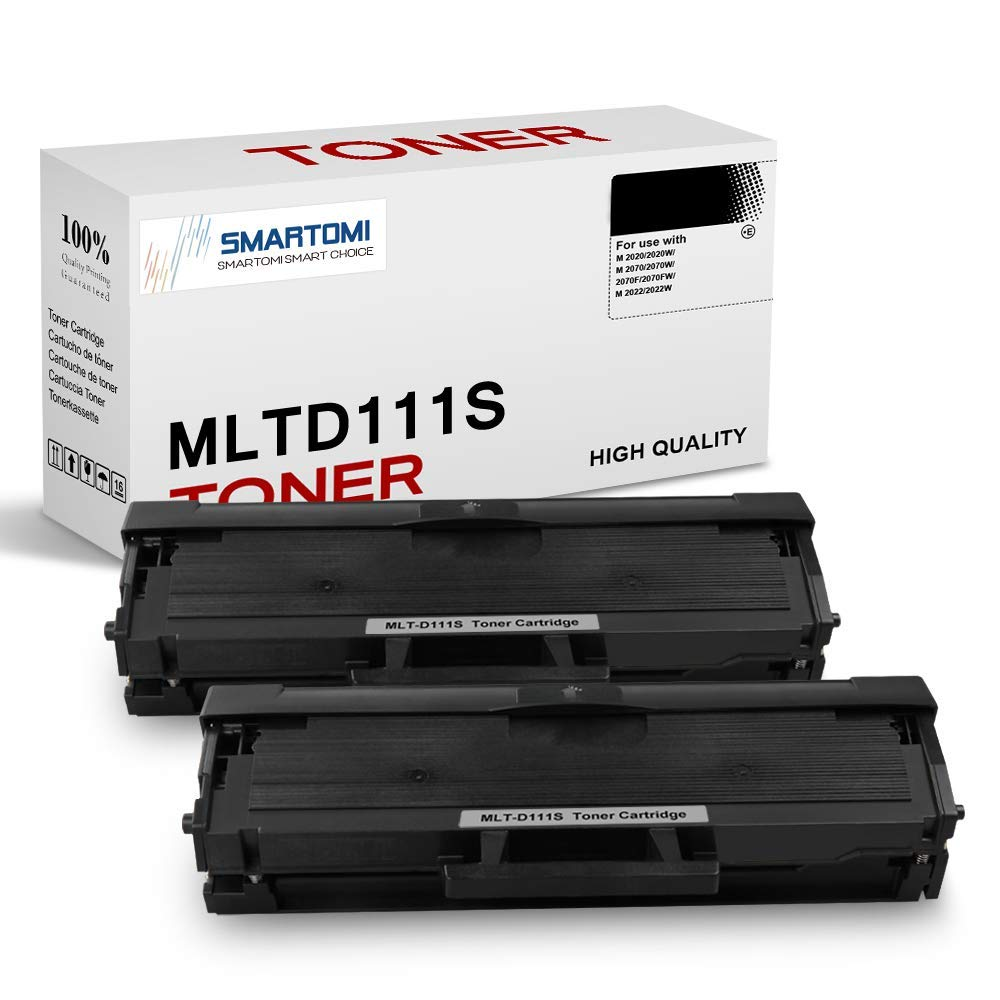 SMARTOMI 2PK MLT-D111S Compatible Black Toner Cartridges Samsung MLTD111S for Used with Samsung Xpress SL- M2026 M2020 M2070 M2022 M2071 Series Printers (Packaging May Vary)