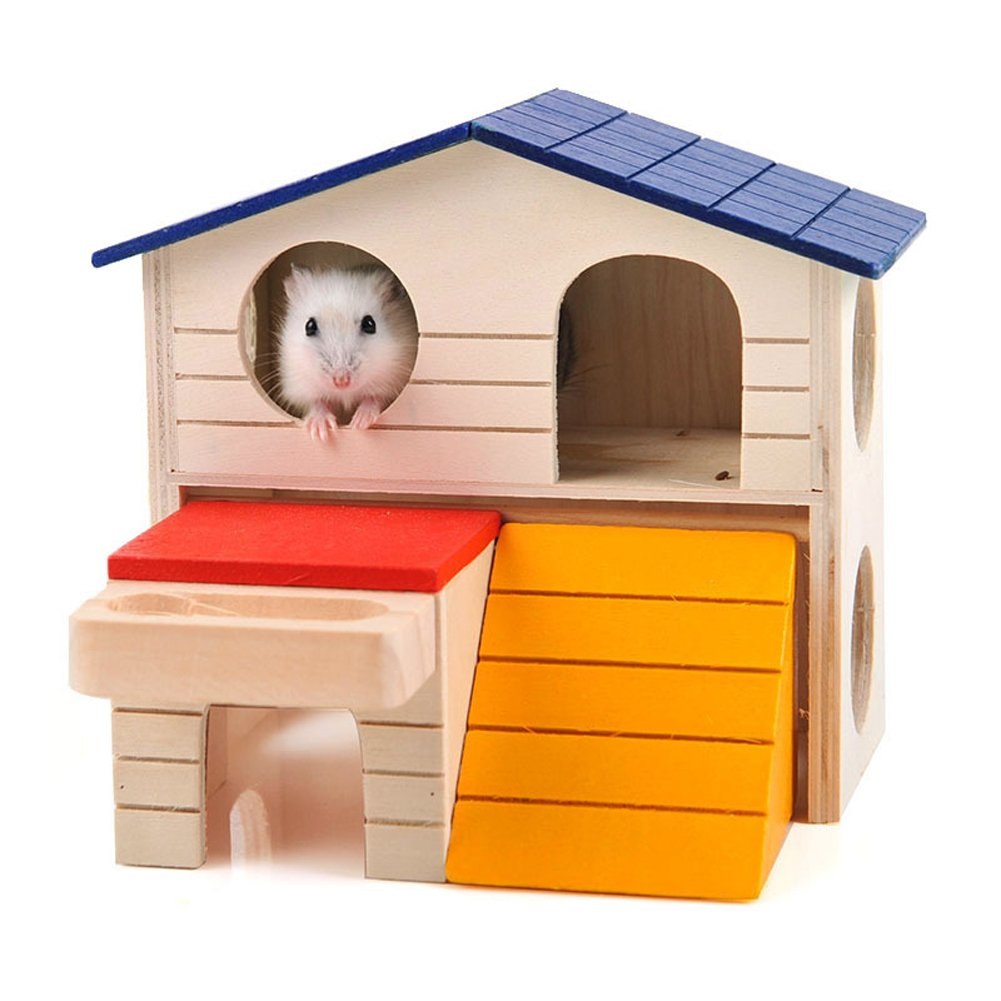 1e8371ac0e BWOGUE Pet Small Animal Hideout Hamster House Deluxe Two Layers Wooden Hut  Play Toys Chews product
