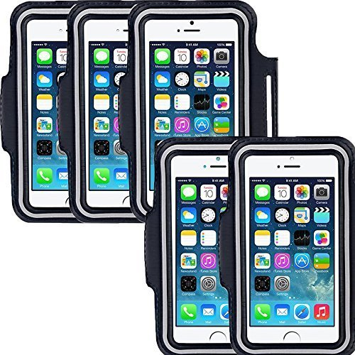 (Phone 6S Armband, iPhone 6 Armband, [5 Pack]CaseHigh Shop Sports Exercise Armband for Apple iPhone 6 6S Running Pouch Touch Compatible Key HolderGood For hiking,Biking,Walking (Black))