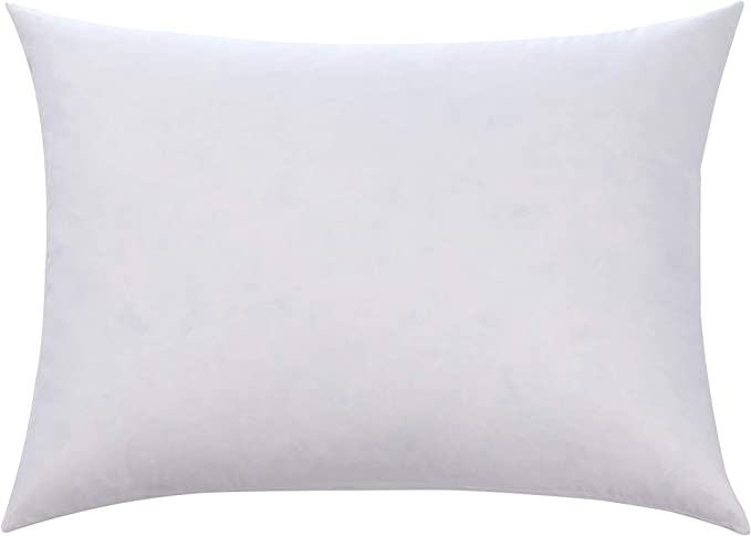 100 Cotton Cover Feather Down Pillow Best Use For Decorative Pillows For Firm Sleepers Hypoallergenic Not Polyester Filled White Size 16x24 Kitchen Dining