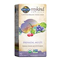 Garden of Life Organic Prenatal Multivitamin Supplement with Folate - mykind Whole Food Prenatal Vitamin, Vegan, 90 Tablets - Packaging May Vary