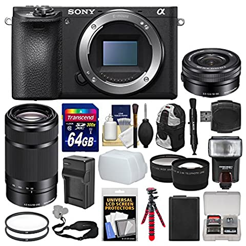 Sony Alpha A6500 4K Wi-Fi Digital Camera Body with 16-50mm & 55-210mm Lenses + 64GB Card + Case + Flash + Battery & Charger + Tripod - Sony 12 Inch
