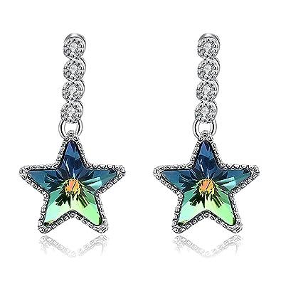 Milky Way LEKANI Crystal from Swarovski Element 925 Sterling Silver Cubic Zirconia Earrings Women Drop Earring uTZUZWtpy