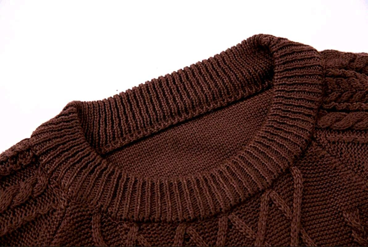 Zimaes-Men Marled Cable Knitted Scoop Pullover Pullover Sweater