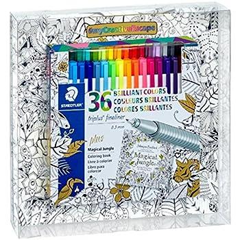 Staedtler 36 Piece Triplus Fineliner Set With Johanna Basfords Magical Jungle Coloring Book 334 SET1JB