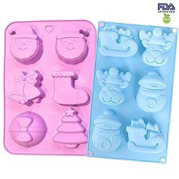 Sinwind 2 moldes de silicona para Navidad, molde de jabón de Navidad, molde de