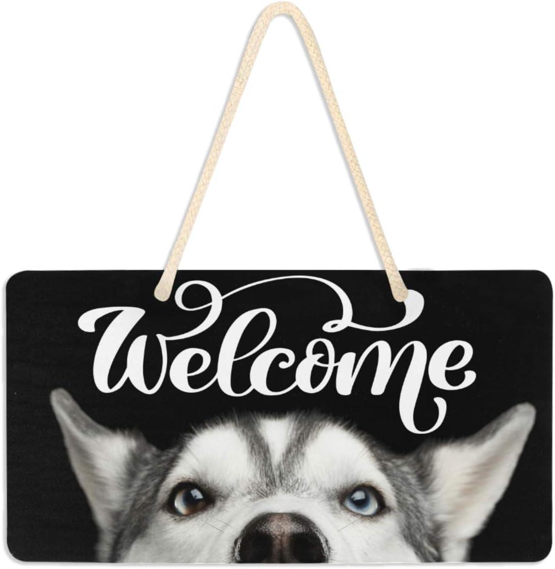 """Vdsrup Funny Husky Dog Door Sign Plaque Cute Animal Puppy Welcome Wall Hanging Signs Front Door Decor Home Decorative Door Hanger for Bedroom Porch Yard 6"""" X 11"""""""
