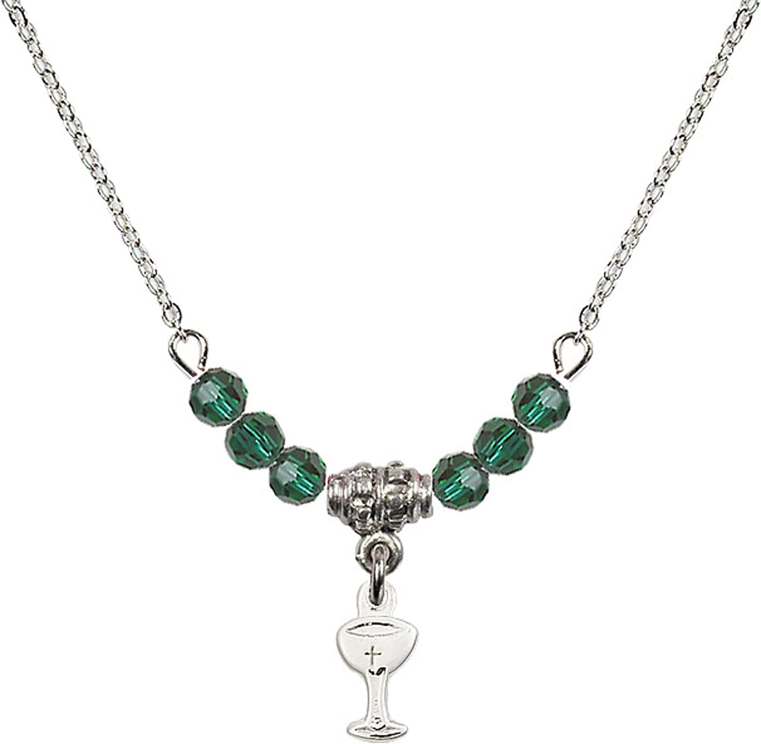 Bonyak Jewelry 18 Inch Rhodium Plated Necklace w// 4mm Green May Birth Month Stone Beads and Chalice Charm
