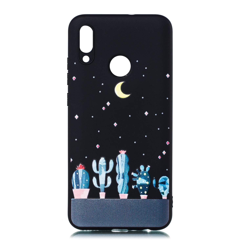BoRan Funda Huawei P Smart 2019 Carcasa Paro Libre Gato Curioso TPU Gel Silicona Patr/ón de Dibujos Animados Lindo Planets Series Bumper Case Cover Compatible for Huawei P Smart 2019