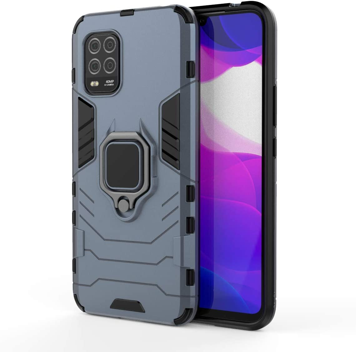 TANYO Funda para Xiaomi Mi 10 Lite 5G, Carcasa TPU/PC Hybrid Case con 360° Soporte, Robusta Silicona Estuche, Antigolpes Cover Caso Azul