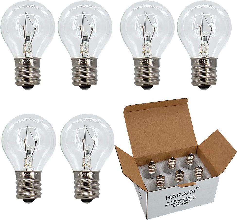 6 Pack S11 E17 Base 25 Watt Bulbs for Lava Lamps,Replacement Bulbs for Lava Lamps,Glitter Lamps