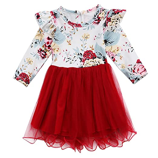 78ff3b9f1ae9 Amazon.com: Baby Girls Floral Dress Toddlers Long Sleeve Red Ruffle Tutu  Red Tulle Valentine's Day Outfits: Clothing