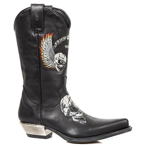 New Rock M.WST027-S1 Botas Botines Hombre Caballero Negro Cuero Piel Tacón Cowboy Oeste Vaquero Western Motorista Motero: Amazon.es: Zapatos y complementos