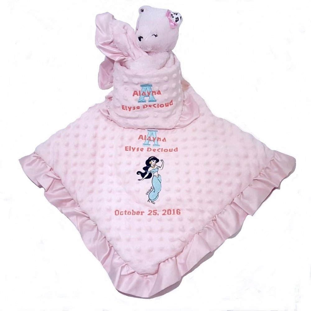 Ultra Soft and Luxurious Minky Dot Baby Blanket. Personalized with baby name, birthday, and Disney design of your choice.