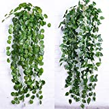 Zhao Xiemao Atificial Fake Hanging Vine Plant Leaves Decoration, Fabric, Green 4 Packs.