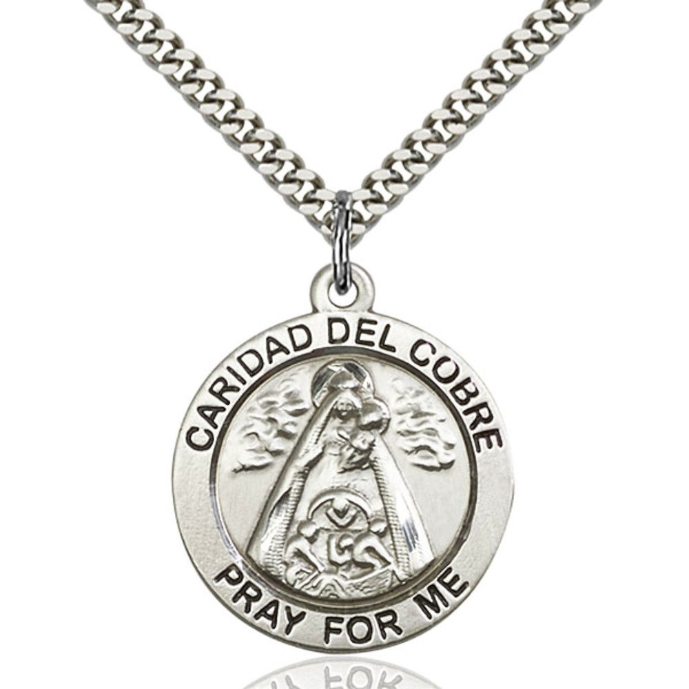 Sterling Silver Caridad Del Cobre Pendant 1 x 7/8 inches with Heavy Curb Chain