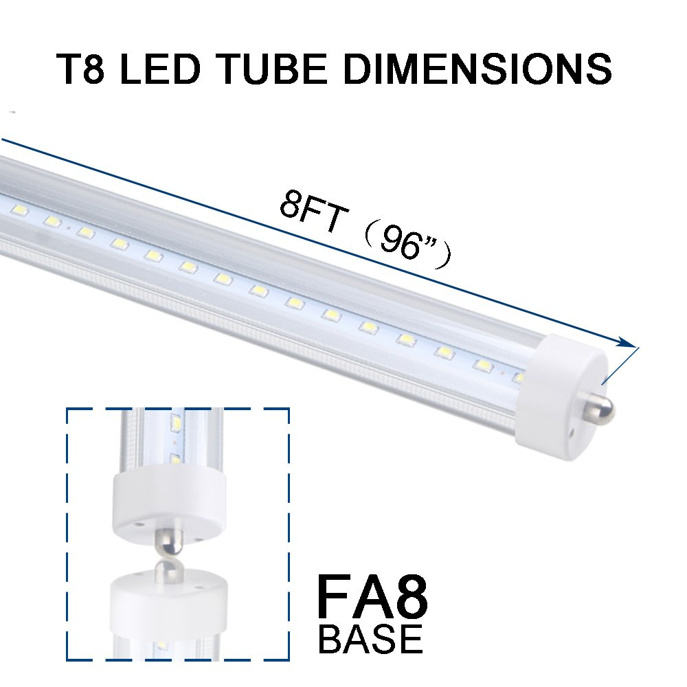 ETL T8 T12 LED 8ft Tube Light F96T8 F96T12 LED Bulb 96'' FA8 Single Pin LED Fluorescent Replacement, ONLYLUX (100W Fluorescent Equivalent), AC85-277V, 6500K CW Daylight Milky Cover, 10 Pack by ONLYLUX (Image #2)