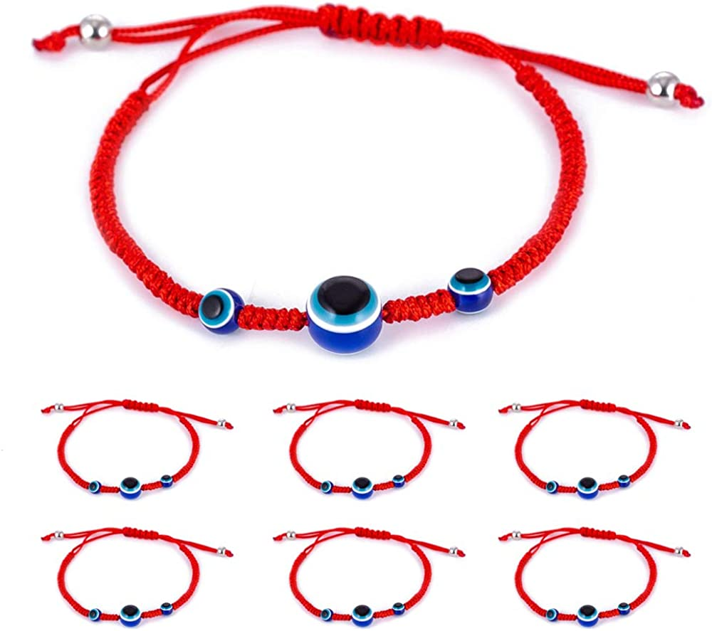 6pcs Evil Eye String Kabbalah Bracelets for Protection and Luck Hand-Woven Red Rope Cord Thread Friendship Bracelet Anklet