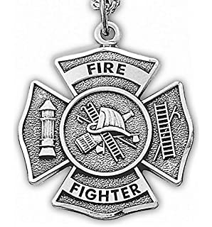 Amazon 925 sterling silver firefighter maltese cross charm sterling silver 1 firefighter medal with philippians 413 and cross on back on aloadofball Choice Image