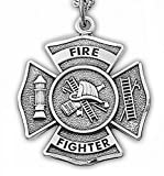 "Sterling Silver 1"" Fireman Shield Medal with St. Florian on Back on 24 Inch Stainless Steel Chain"