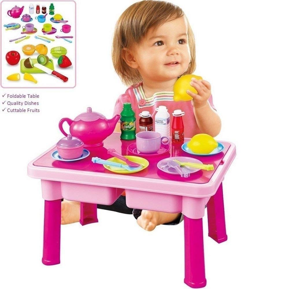 Toddler Toy Dishes & Food - Play Tea Set - and Folding Table   4-Set Plates, Cups & Utensils   Cutting Play Fruits & Knife   Kids Pretend Play Kitchen Accessories Gift for Toddlers & Little Girls