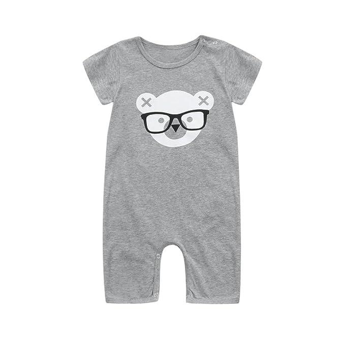 QinMM Mono con Estampado de Oso Para Bebé Niña y Niño, Body Peleles Manga Corta