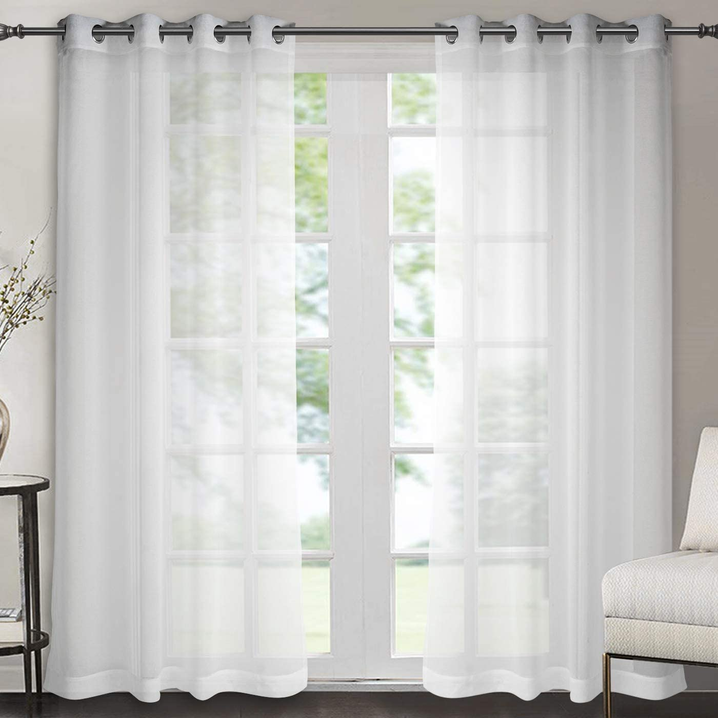 Singinglory Eyelet Voile Curtains Set of 2 with Tiebacks,White Sheer Solid Transparent Muslin Window Drop(White,52X90)