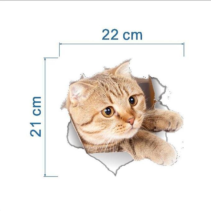 Amazon.com: 1 juego Vista de agujero Vivid gatos pegatinas ...