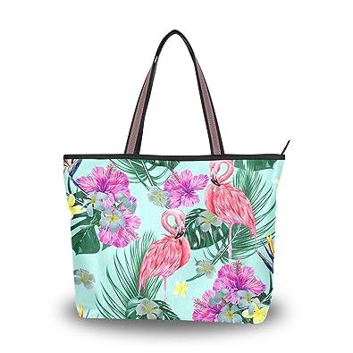 e7bbb0049423 Amazon.com: My Daily Women Tote Shoulder Bag Flamingo Tropical ...