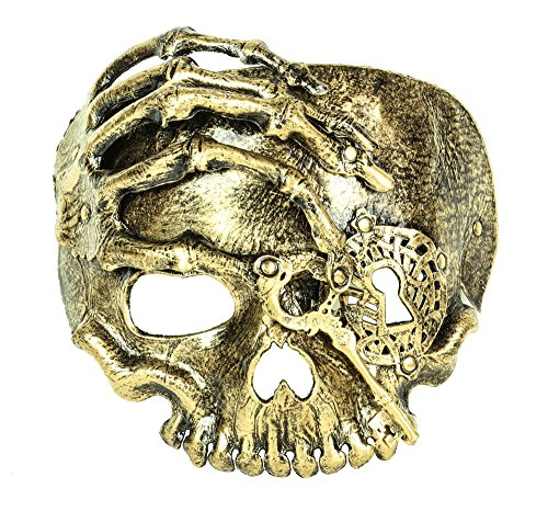 Skull Skeleton Death Mask Latex Hand Bone Steampunk Keys Gear (Antique (Latex Spiderman Mask)