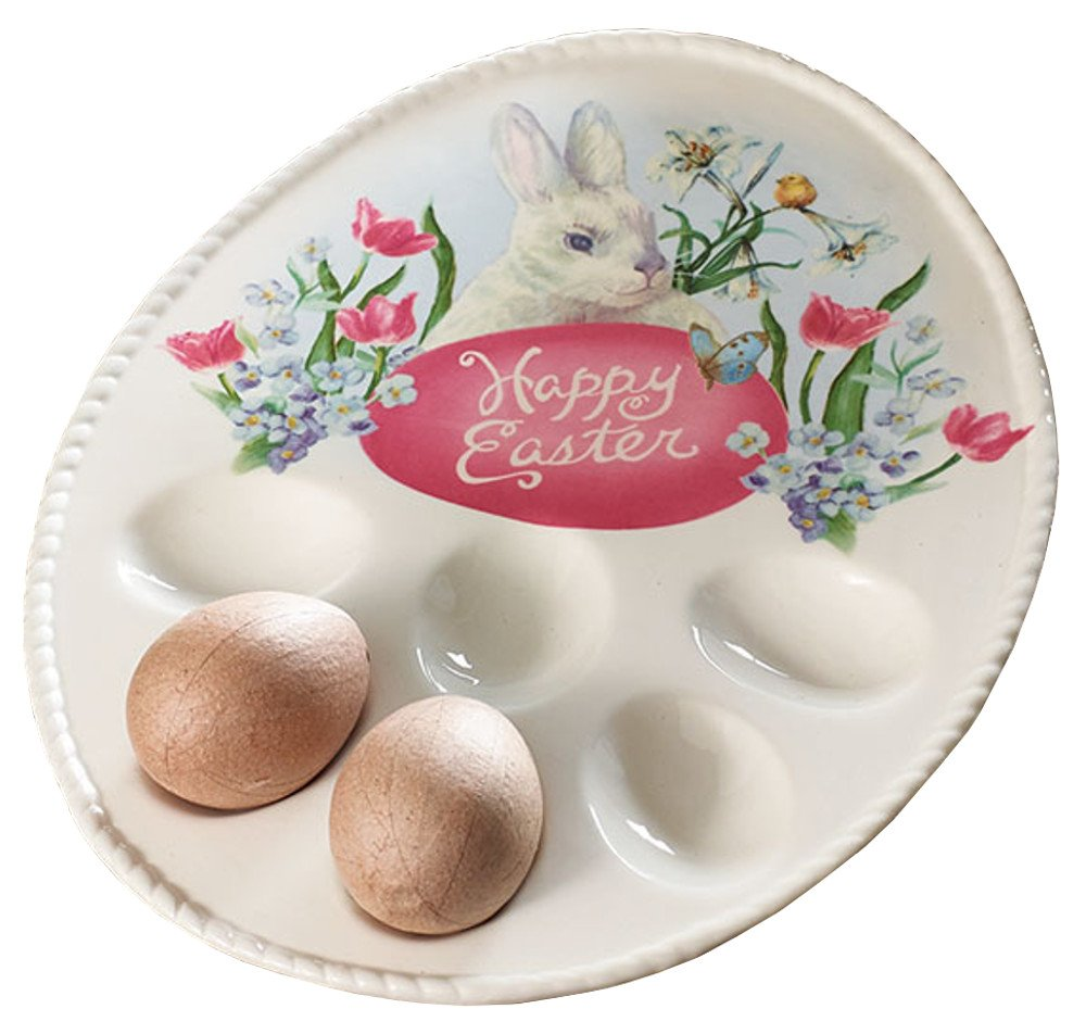 Burton Happy Easter Bunny Rabbit & Spring Egg Plate Tray, Cream & Pink
