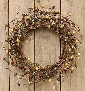 "Burgundy 6.5/"" Inside Stars Vanilla Cream Pip Berry Large Candle Ring Wreath"