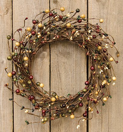 Primitive Combo Berry Wreath Green Rust Cream Black Pip Berries