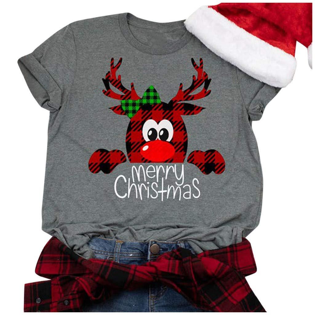 aihihe Christmas Tee Shirts for Women Short Sleeve Plaid Snowman Print Casual V Neck Short Sleeve T Shirts Tops