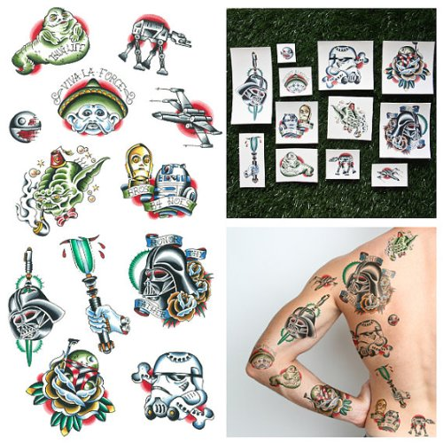 Tattify Traditional Star Wars Temporary Tattoos - Lightspeed (Set of (Star Wars Tattoos)