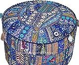 khushvin Handmade Pouf Indian Patchworkl blue Ottoman 18x18x14 Bohemian Indian Patchwork Ottoman Vintage Sari Patchwork Ottoman Traditional Ottoman
