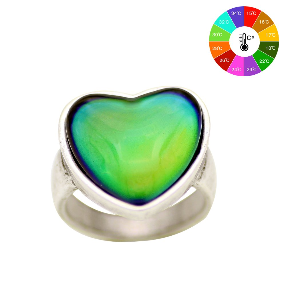 MOJO JEWELRY Antique Sterling Silver Plated Ring With Heart Shape Stone Color Change Mood Rings MJ-RS056