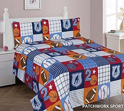 Full Size Elegant Home Multicolor Sports Basketball Baseball Soccer Football Design 7 Piece Full Size Comforter Bedding Set for Boys//Kids Bed in a Bag with Sheet Set # Sports Navy