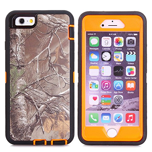 "MOONCASE iPhone 6S Hülle, Realtree Camo 3 Layer Hybrid Rugged Heavy Duty Defender Case TPU Handyhülle Drop Resistance Tasche Schutzhülle mit Standfunktion für Apple iPhone 6 6S 4.7"" -Orange Withered"