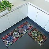 iisutas 2 Piece Non-Slip Kitchen Mat Runner Rug Set Doormat Vintage Design Baroque Style,Hexagon (15''x47''+15''x23'')