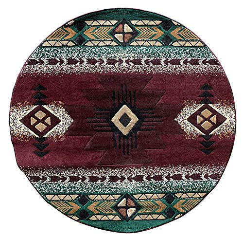 Concord Southwest Native American Indian Round Area Rug Burgundy Design C318 (6 Feet 7 Inch X 6 Feet 7 Inch)