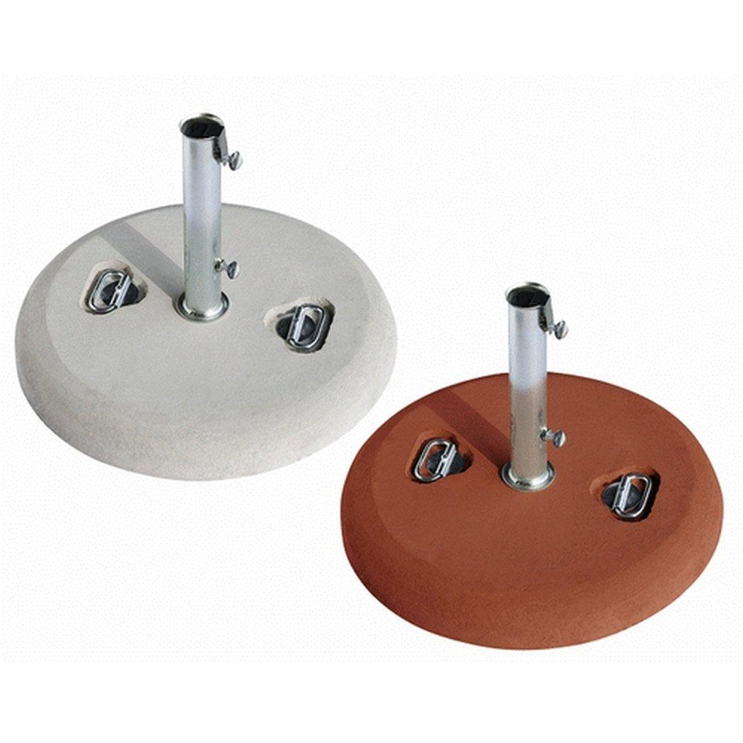 Base Per Ombrellone In Cemento Fornita Con Maniglie E Tubo Zincato /Ø 5,2 Cm Spessore 8 Cm. Peso 35 Kg